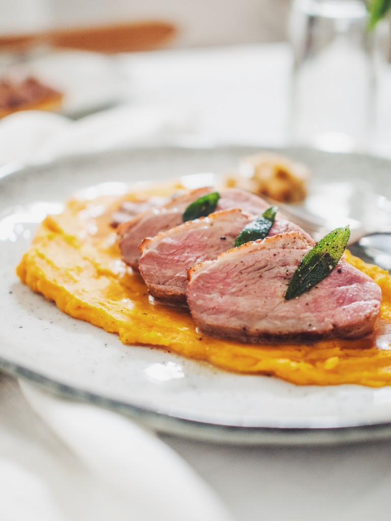 duck breasts with pumpkin puree