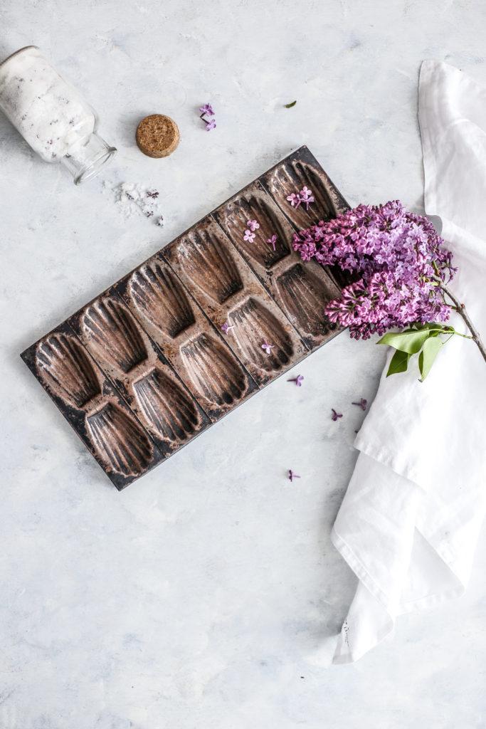 lilac sugar madeleines