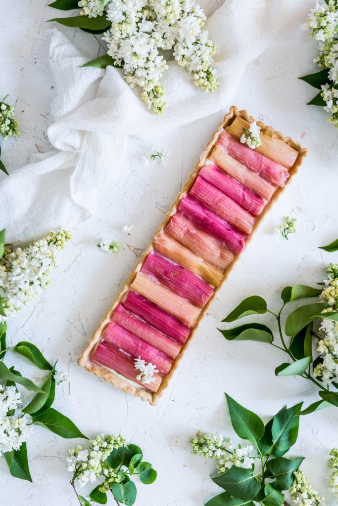 Rhubarb mascarpone tart